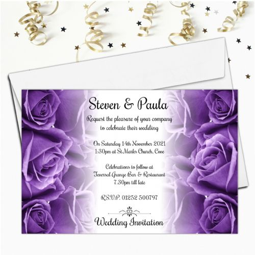 10 Personalised Purple Roses Wedding Invitations Day/Evening N62